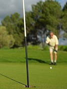Golfer looking towards hole