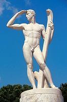 italy, lazio, rome, marmi statues, statues of the discipline sport