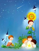 Illustrated images about kids, angels, boys and girls (thumbnail)