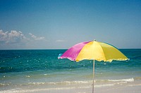 Beach umbrella at Lighthouse Park Beach on Sanibel Island, Florida. USA