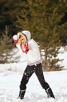 Woman getting hit by a snowball