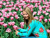 Girl and tulips