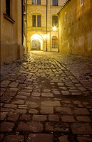 Cobblestone Alley at night, Krakow, Poland