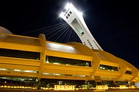Olympic stadium at night. Montreal, Quebec, Canada