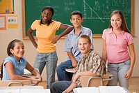Students standing in classroom