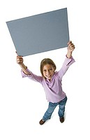 High angle view of a girl holding a blank sign (thumbnail)