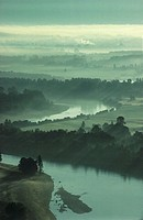 Skagit Valley river with morning mist, aerial view