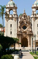 Spanish-style architecture of Casa del Prado in Balboa Park, San Diego. California, USA
