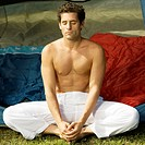 Close-up of a mid adult man meditating