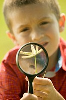 Close-up of a boy holding a plant and a magnifying glass