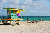 Lifeguard hut on the beach, South Beach, Miami, Florida, USA