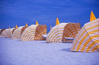 Canopies in a row on the beach, Miami, Florida, USA
