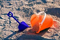 High angle view of a sand pail and a shovel on the beach, Miami, Florida, USA