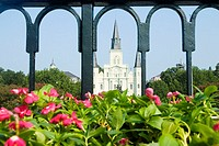 Facade of a cathedral seen through a gate, St. Louis Cathedral, Jackson Square, New Orleans, Louisiana, USA