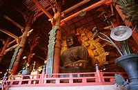 Low angle view of the statue of Buddha, Todaji Temple, Nara, Japan