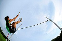 Man Pole Vaulting
