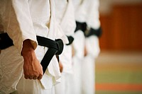 Members of a Judo Dojo Lined Up
