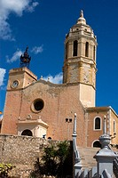 Church of Sant Bartomeu and Santa Tecla, Sitges. Barcelona province, Catalonia, Spain