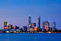 Western Australia, Perth, Skyline with Central Business District after sunset, Swan River in the foreground