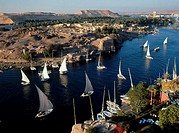 Feluccas, Nile River, Egypt.
