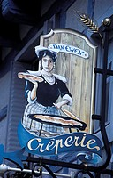France, Brittany, Crepe restaurant sign