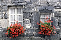 France, Brittany, Flowered windows