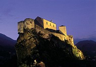 France, Corsica, Corte, citadel by night