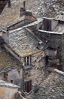 France, Corsica, Nonza, detail of traditional homes