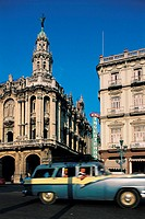 Havana, old american car, England hotel and Opera house