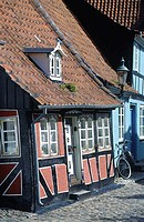 Denmark, Aero island, Aeroskobing, traditional house