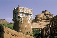 Yemen, Wadi Dahr, Qaryat al Qabil, watch tower