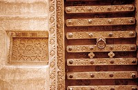 Yemen, Shibam, carved door