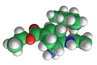 Molecular model of Tamiflu (oseltamivir), a pharmaceutical drug used to treat influenza with carbon (green), hydrogen (white), oxygen (red), and nitro...