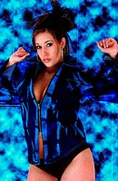 A woman in black panties and a blue revealing jacket