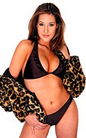 A woman in purple bikini and a hooded leopard skin jacket