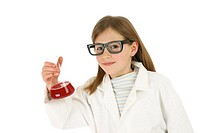 A girl disguising as a scientist holding a conical flask containing red liquid