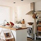 Interior of modern kitchen with kitchen worktop
