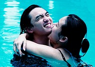 Couple having fun in the swimming pool