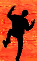 Silhouette of a man in action