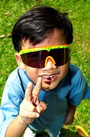 Boy wearing sunglass