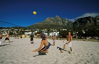 Volleyball Action on Beach, Camps Bay, Cape Town, Western Cape, South Africa