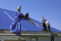 FEMA Blue Roof being installed after Hurricane Katrina, Grand Isle, Louisiana