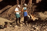Field-Geologists-collecting-photo-reactive-soil-Samples,-Grand-Canyon-NP,-AZ,-Arizona