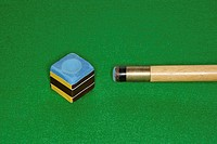 Snooker cue and chalk