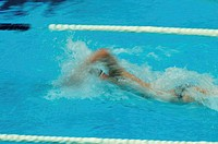 Unrecognizable person swimming in pool, Goodwill Games, Seattle, Washington, USA