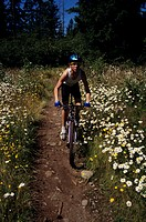 Mountain biker on trail surrounded by flowers