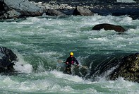 Kayaking in rapids of Skykomish River, Washington, USA, elevated view