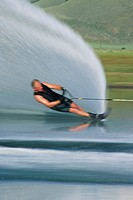 Man waterskiing, Blurred motion