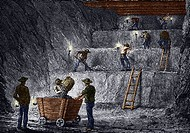 19th-century step mining, Prussia. Artwork of miners excavating ore using the technique of step mining. This involves extracting the mineral- containi...
