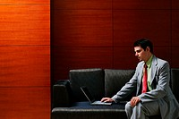 Businessman sitting on the couch using laptop
